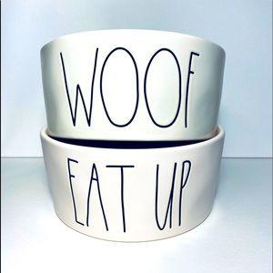 Rae Dunn WOOF/EAT UP large set of dog food bowls